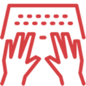 icons of hands on a keyboard